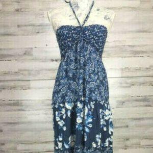 Benetton Dress Size M Maxi Halter Sun Blue White